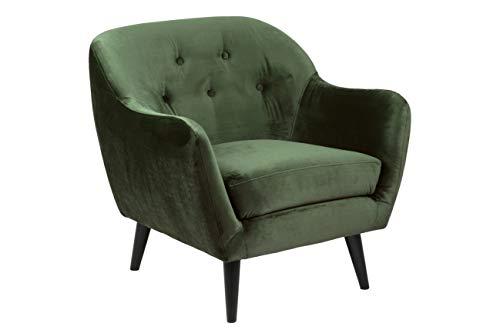 Amazon Brand - Movian Lina - Poltrona, 82 x 84 x 82 cm (Lu x La x A), verde scuro, gambe nere in legno