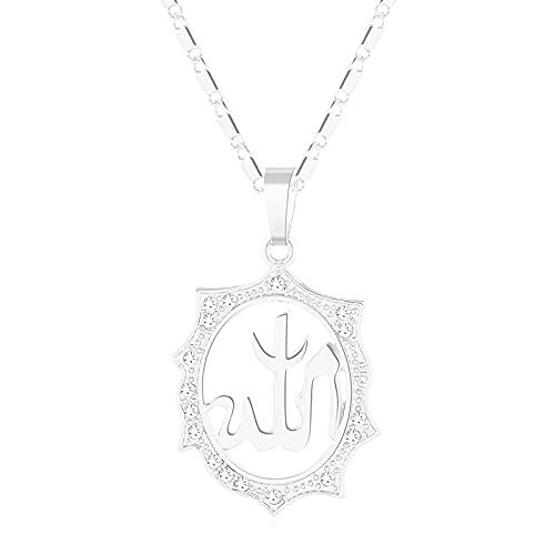 Collar con colgante de Alá musulmán, collar de circonita cúbica de plata / oro para mujeres religiosas, joyería árabe de Oriente Medio