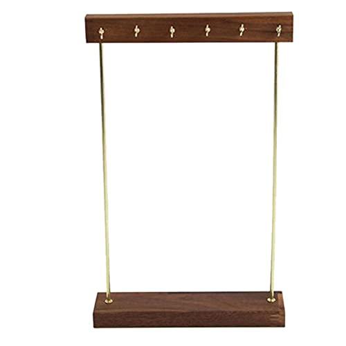 jwj Estante de joyería con soporte para joyas de madera ho con ganchos, estante para colgar pendientes, collares, pulseras, accesorios de almacenamiento para joyas (color: marrón)