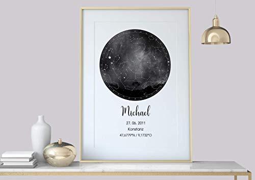Hochzeitsgeschenk Personalisierte Sternenkarte Poster, Sternenhimmel Konstellation
