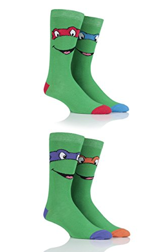 Film & TV Herren 4 Paar SockShop Teenage Mutant Ninja Turtles Baumwollsocken - Grün 46-48