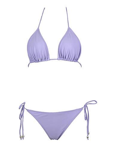 Jonathan Swim Women Two Piece Swimsuit Sexy Swimwear Halter String Triangle Bikini Sets(Purple Cirrus XS)