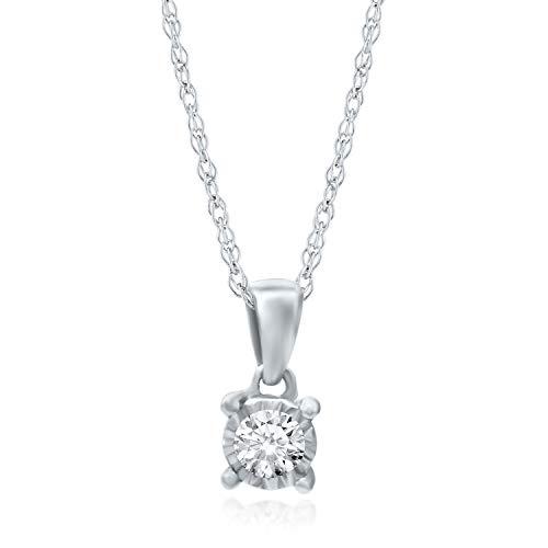 "Helzberg Diamonds 10K White Gold 1/10 cttw Diamond (I-J Color, I3 Clarity) Illusion Pendant, 18"""