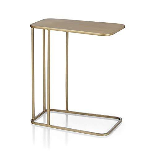 Axdwfd Table d'appoint C Table d'appoint pour canapé Snack latéral en C en forme de C sur le côté, Table basse pour ordinateur portable, Doré 50L X 30W X 58h (cm)