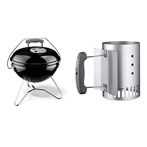 Weber 1121004 Smokey Joe Premium, Holzkohlegrill, 37 cm, schwarz, für unterwegs, tragbar & 7447 Kleiner Anzündkamin Rapidfire