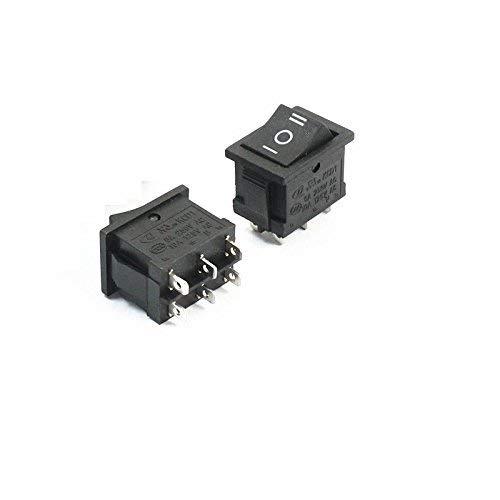 ZTSHBK 10PCS 6Pin DPDT ON-Off-ON 3 Posiciones Interruptor basculante de Barco a presión AC 6A / 250V 10A / 125V