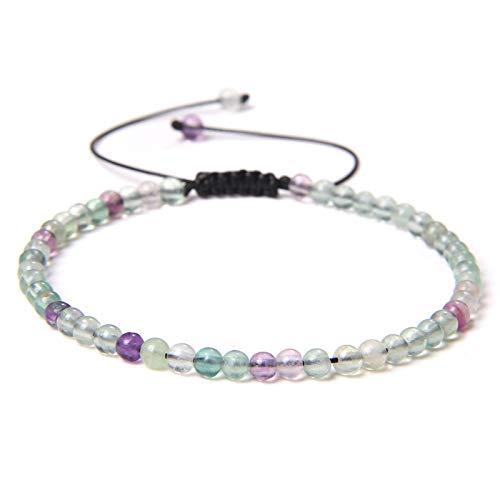 shangwang - Pulsera trenzada de 4 mm de piedra natural perlada, para mujer, hombre, moda, cuarzo y cristal perlado, regalo fluorescente