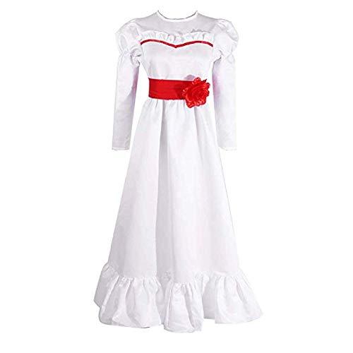 Annabelle Deluxe Costume Cosplay Horror Vestido Blanco con Cubierta Facial para Mujeres y niñas