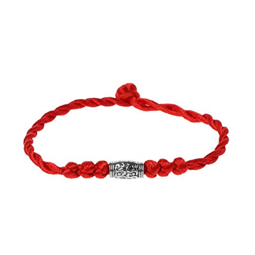 Nowakk Traditional Tibetan Silver Red Thread Lucky Bracelet String Amulet Couple Bracelet Jewelry For Women Men Wearing - Silver