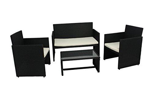 Zitgroep zwart 2 stoelen 1 sofa 1 tafel materiaal: polyrotan kleur zwart