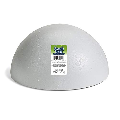 FloraCraft SmoothFoam Hollow Half Ball 5.9 Inch x 11.9 Inch White