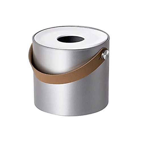 DWQ Cubierta portátil de la Caja del Tejido portátil Moderno Minimalista Caja de la Caja del Tejido, dispensador de servilletas para el baño del hogar (Color : Round-Silver)