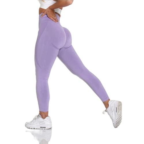 QTJY Pantalones de Yoga sin Costuras de Cintura Alta, Mallas Deportivas para Correr para Mujer, Pantalones Deportivos para Entrenamiento en Cuclillas, Pantalones Deportivos PS