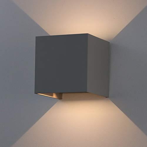 K-Bright 7W LED Wandleuchte Draussen/Innen,IP65, oben und unten Design Dekorative Wandlampe,Cube Wandbeleuchtung/Nachtlicht,Dunkelgraue, Warmweiß