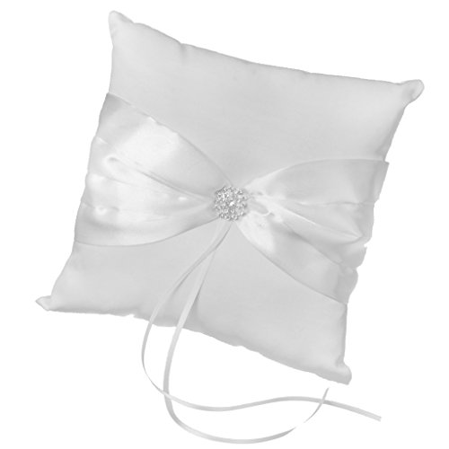 Cojín almohada portador del anillo alianza para boda color blanco