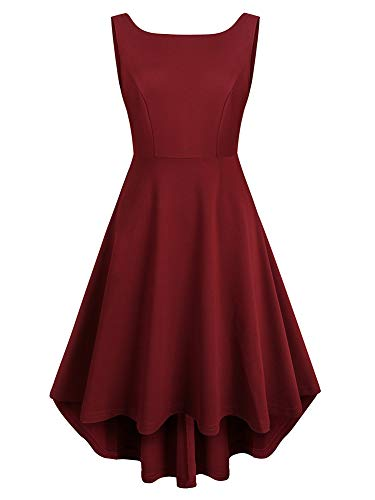 REORIA Women Sleeveless Boat Neck High Low Vintage Cocktail Skater Swing Dress Burgandy Small