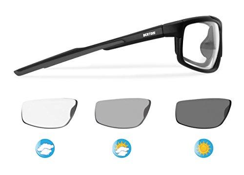 BERTONI Sonnenbrille Photochromic Sport Radfahren Running Skifahren antifog – Nase – verstellbar (Matt Schwarz - Selbsttönend)