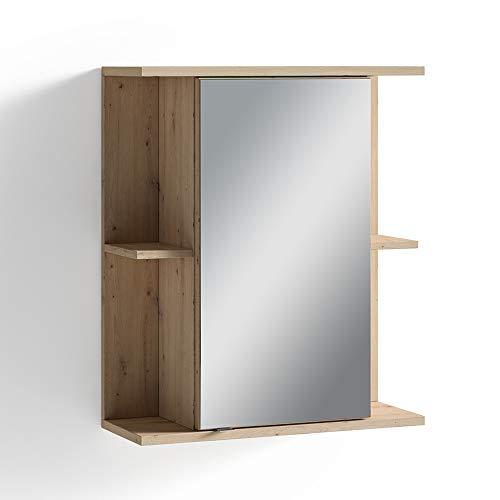 Homexperts LIDO spiegelkast, melamine, eiken bruin, 60 x 70 x 30 cm (BxHxD)