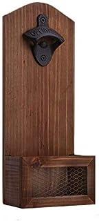 goldmiky Flaschenöffner zur Wandmontage, mit Kappenfänger, Vintage-Holz-Flaschenöffner für Bar, Küche, Wohnung, Terrasse