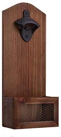 goldmiky Apribottiglie da parete in legno vintage, Apribottiglie a bottone di birra Apertura a bottiglia da birra a barra a parete, Accessorio da bar o casa 30.6 x 12.6 x 7 cm