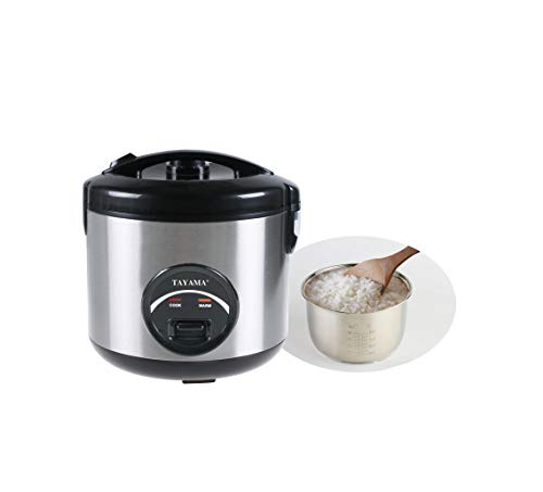 Tayama Stainless Steel Rice Cooker & Food Steamer 10 Cup, Black (TRSC-10R)
