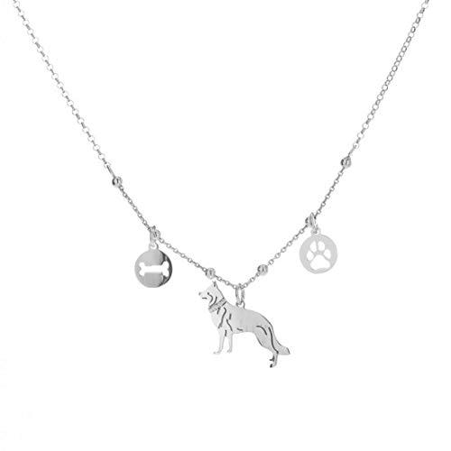 Remo Gammella - Collar con colgante para hombre y mujer, de plata 925 bañada en oro blanco con purpurina, colección de cuatro patas. Todas las razas disponibles