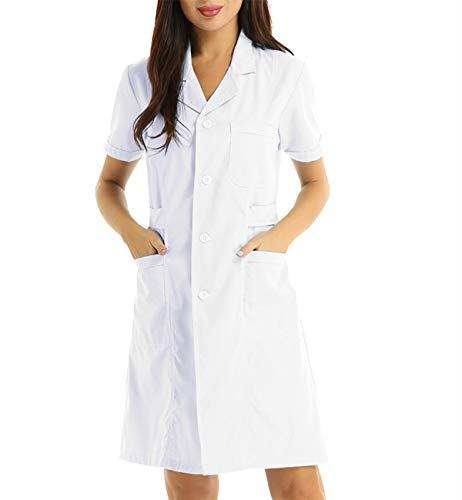 iixpin Krankenschwester Kostüm für Damen Arztkittel Medizin Pflege Uniform Doktor Ärztin Kostüm Frauen Cosplay Kostüme Verkleidung A Weiß X-Large