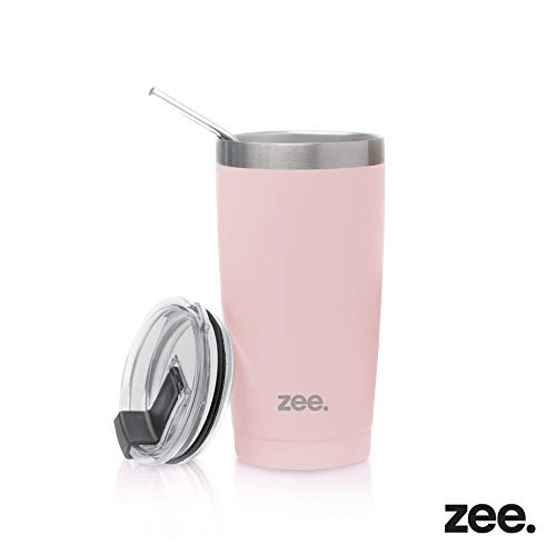 Tumbler with Straw & Cleaning Brush - Vacum Insulated Stainless Steel Tumbler Cup For Hot & Cold Beverages - Non-Slip, Anti-Splash, Sweat-Proof, Portable Travel Mugs by Zee (Blush, 20 oz)