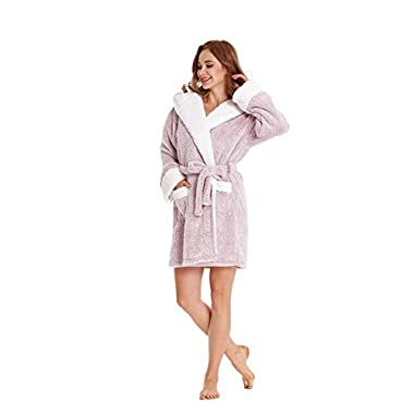 TIMSOPHIA Women's Bathrobe Robe with Koala Hood(Pink, L)