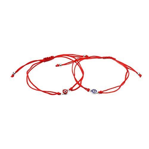 OMMO LEBEINDR 2 Stück Auge Armband Braid glücklicher schlechtes Auge-justierbare Armband-Schnur-Seil-Armband-Freundschaft-Armband Schmuck-Set für Männer Frauen Red Bluefor Convenience