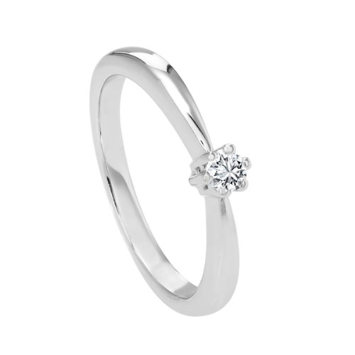 Diamond Line Diamant-Ring Damen 585 Weißgold mit 1 Brillianten 0.10 ct. Lupenrein