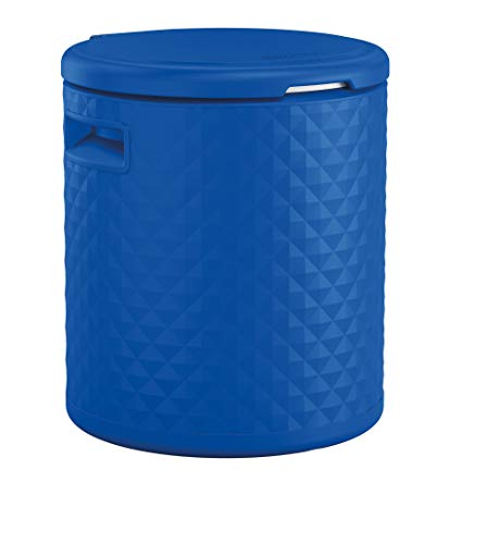Suncast BMDC1000BD, Blue 54-Quart Resin Cooler Side Table and Decorative Stool