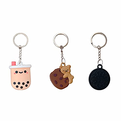 [3 Pack] Soft Silicone Cartoon Case Compatible with Apple AirTags 2021, 3D Cute Funny Protective Anti-Scratch Skin Cover with Key Ring, for GPS Tracker Cover