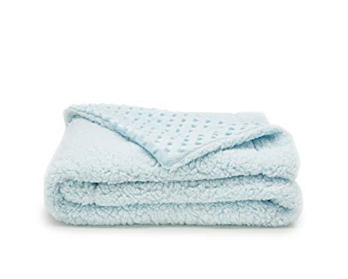 Limiano - Manta para Bebé tacto terciopelo suave. Doble cara con diferente textura. (Azul, 110x140)