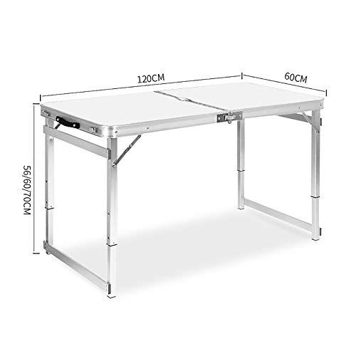 MENG in hoogte verstelbare multifunctionele klaptafel vet vierkante buis robuuste klaptafel van aluminiumlegering voor barbecue picknickparty (wit) 120X60x70cm No stool Met hout.