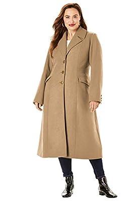 Roamans Women's Plus Size Long Wool-Blend Coat - 24 W, Soft Camel by Roamans