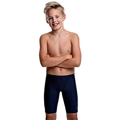 Flow Swim Jammer - Boys Youth Sizes 20 to 32 in Black, Navy, and Blue (30, Navy Crescents)