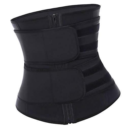 Abaodam Chaleco entrenador de cintura para mujer, corsé deportivo, cómodo, moldeador de cuerpo, doble cinturón de fitness, body para mujeres adelgazar negro 3XL