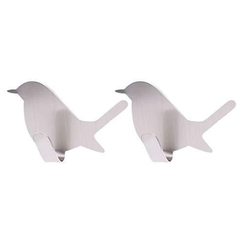 Viesky 2pcs Oiseau Mignon En Forme De Porte De Mur Décoratif En Acier Inoxydable Décoratif Manteau Clé Cintre Crochet Crochet