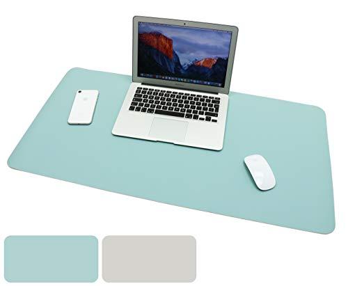 Schreibtischunterlage, Gaming Mauspad 90cm x 45cm PU-Leder Tischunterlage, Laptop Tischunterlage, wasserdichte Schreibunterlage für Büro- oder Heimbereich (Blau Grau)