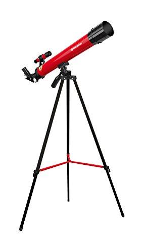 Bresser Junior Linsenteleskop 50/600 AZ mit Stativ zum Beobachten von Mond, Planeten und Tageslichtbeobachtungen inklusive Zubehör, rot