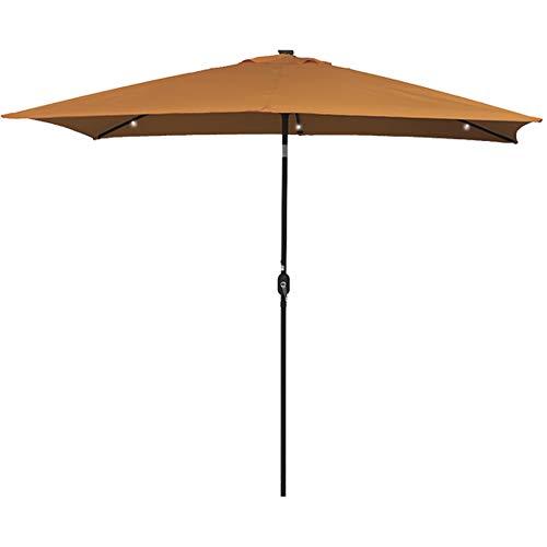 Sundale Outdoor Rectangular Solar Powered 26 LED Lighted Outdoor Patio Umbrella with Crank and Tilt, Aluminum, 10 by 6.5-Feet (Tan)