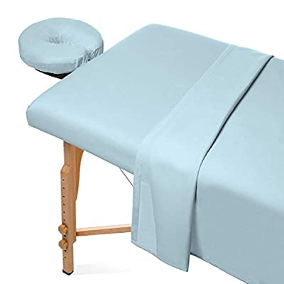 Saloniture 3-Piece Flannel Massage Table Sheet Set - Soft Cotton Facial Bed Cover - Includes Flat and Fitted Sheets with Face Cradle Cover - Blue
