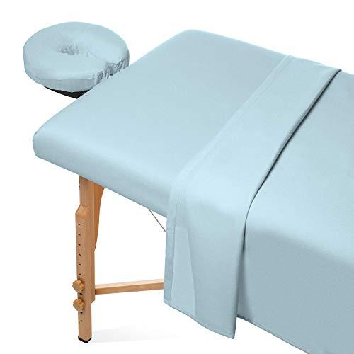 Saloniture 3-Piece Flannel Massage Table Sheet Set - Soft Cotton Facial Bed...