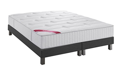 Ensemble Performance Relaxima matelas ressorts ensachés Simmons, Anthracite, 160x200