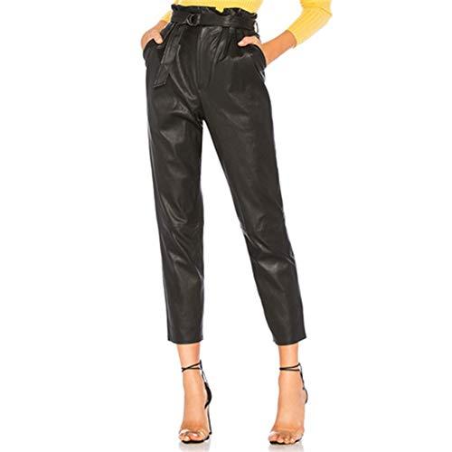 Feidaeu Frauen PU-Lederhose mit Gürtel Capris hohe Taille Stretch Bleistift Hose knöchellangen Hosen