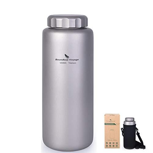 iBasingo 1050 ml Titan Wasserflasche Im Freien Auslaufsicher Breiter Mund Sport Trinkflasche Camping Tee Kaffee Kantine Wasserkessel für Wandern Klettern Laufen Ti1591I