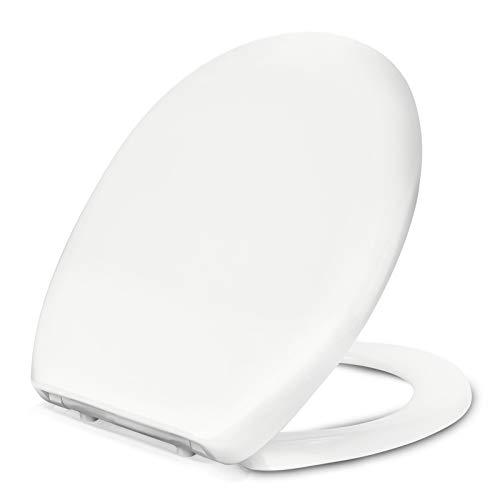 Toilettendeckel, Oval WC Sitz mit Quick-Release Funktion und Softclose Absenkautomatik, Antibakteriell Klodeckel aus Duroplast mit verstellbaren Scharnieren, O Form Weiß Toilettensitz