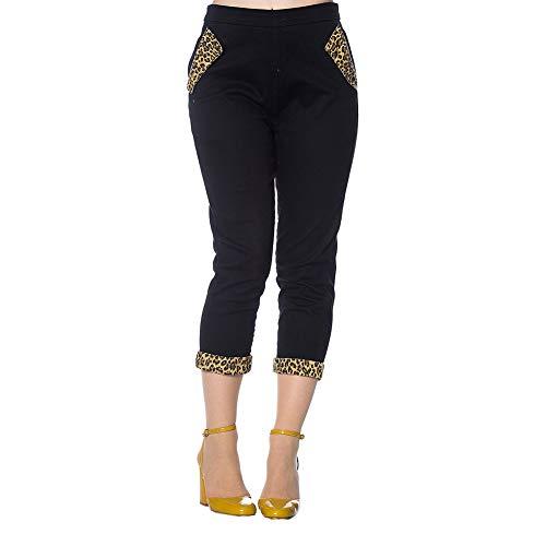 Banned Pantalones Capri con Estampado Rockabilly de Leopardo - Negro XS