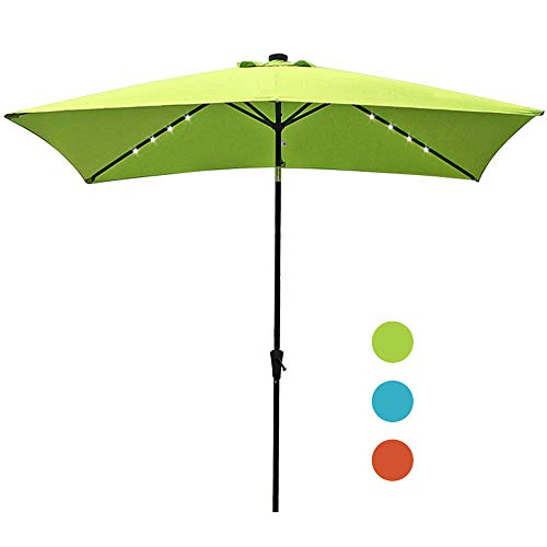 COBANA 9.8' by 6.6' Solar Powered Lighted Patio Umbrella, Outdoor Rectangle Table Market Umbrella with Push Button Tilt and Crank, Lime Green